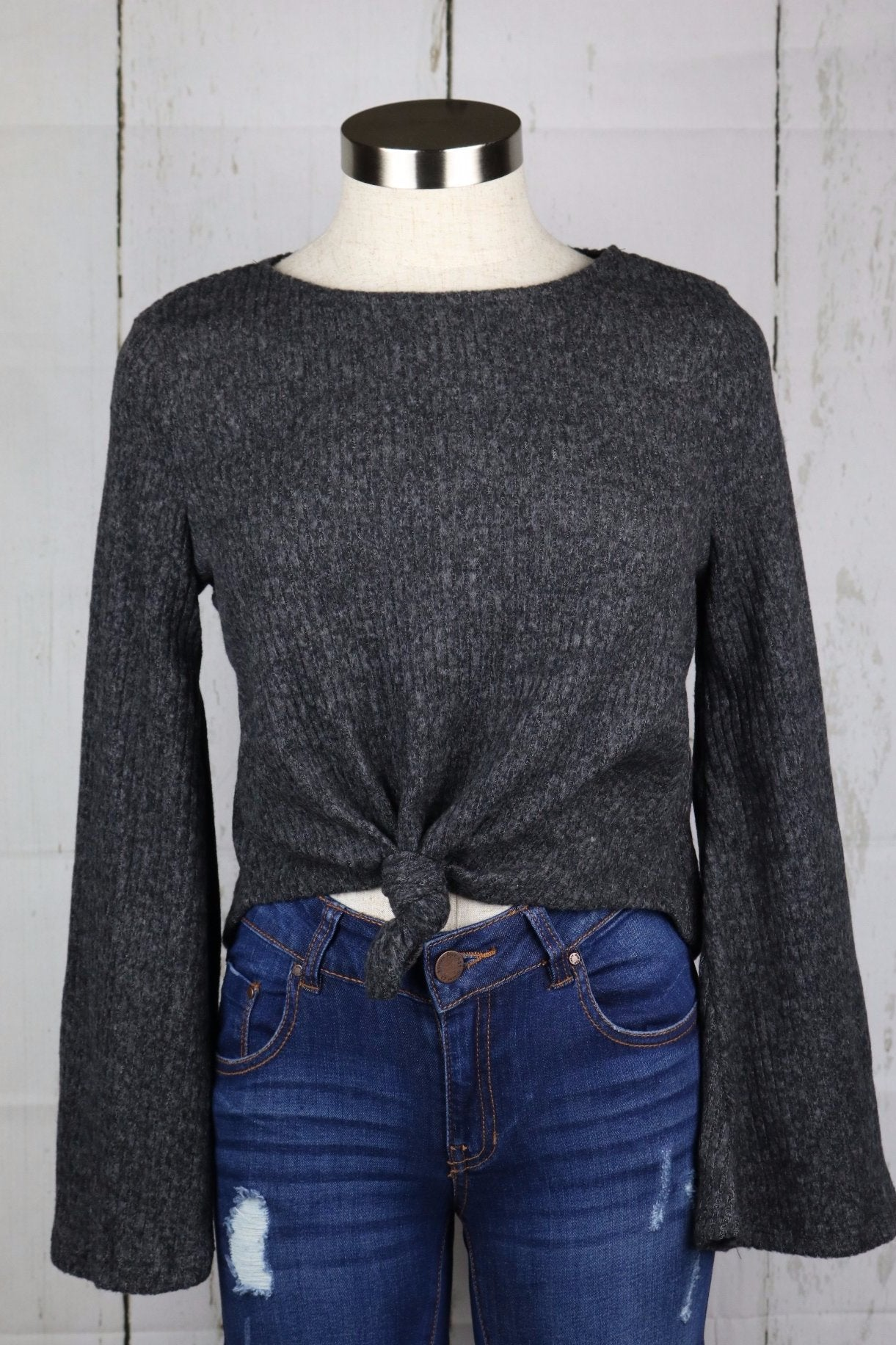 Zaylee Knot Top (Charcoal)