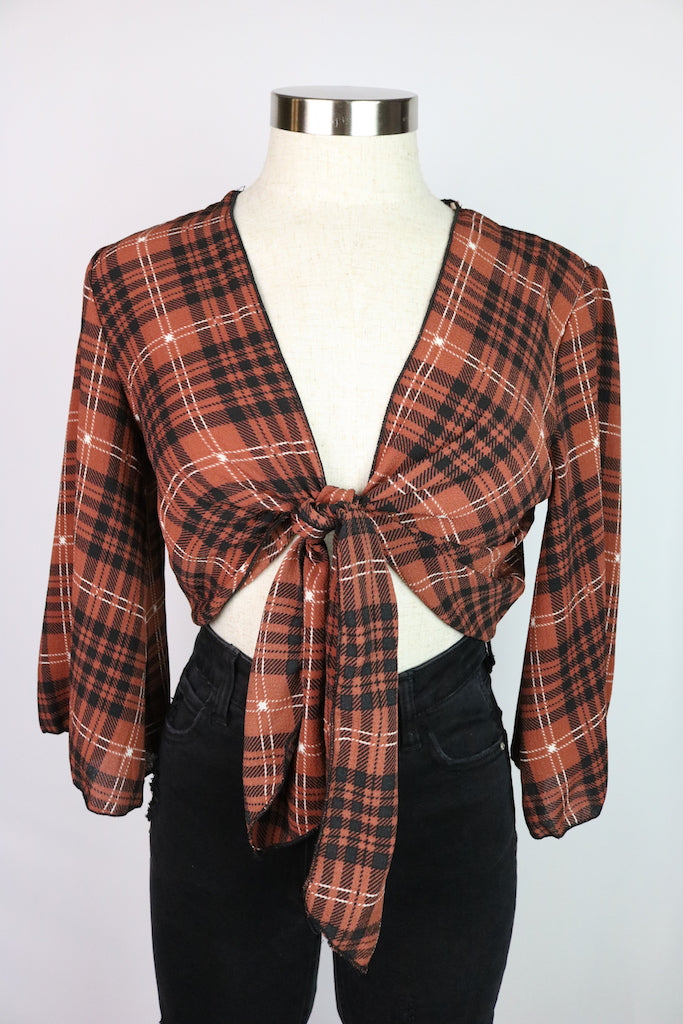 ~Plaid print  ~Also available in mustard ~Fabric: polyester/spandex, plaid, bell sleeve, tie knot,