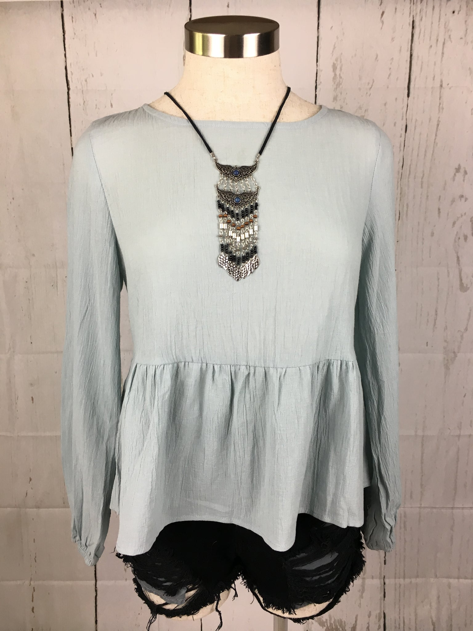 ANDREA FLOWY TOP (POWDER BLUE)