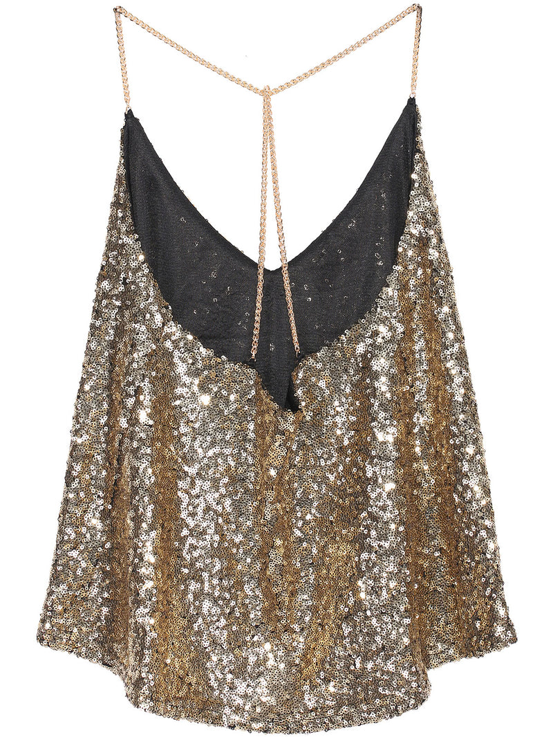 Criss Cross Sequined Cami Top