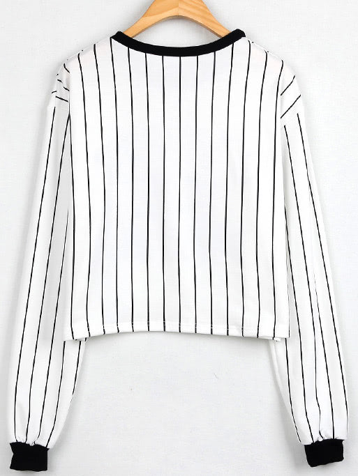 Contrast Vertical Striped Letter Print Sweatshirt