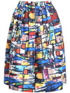 Graffiti Print Midi Skirt