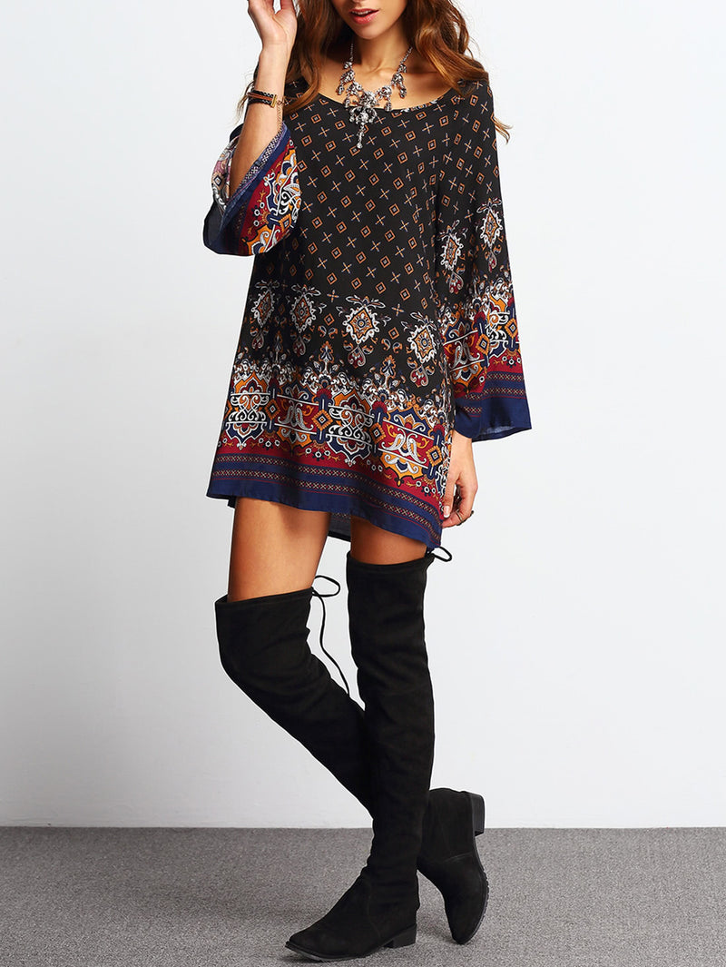 Scoop Neck Bell Sleeve Vintage Print Shift Dress
