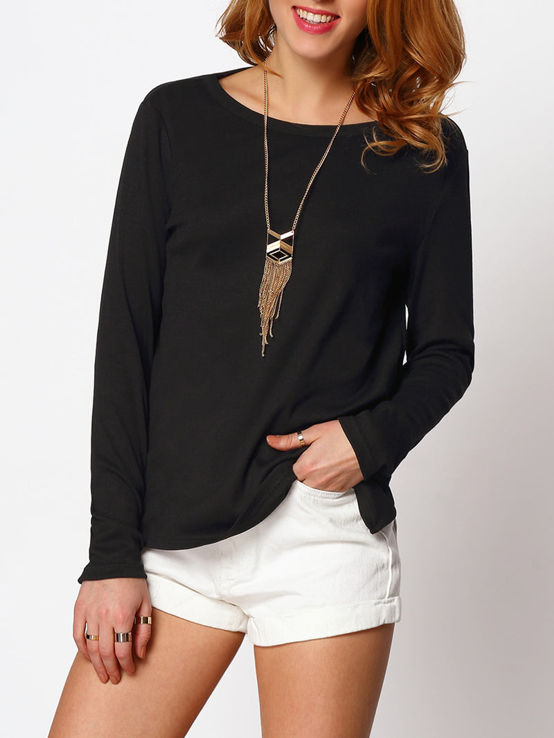 Split Side Cut Out Backless Blouse