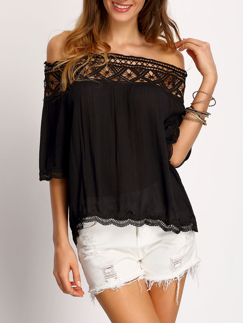 Boat Neck Crochet Hollow Out Shirt