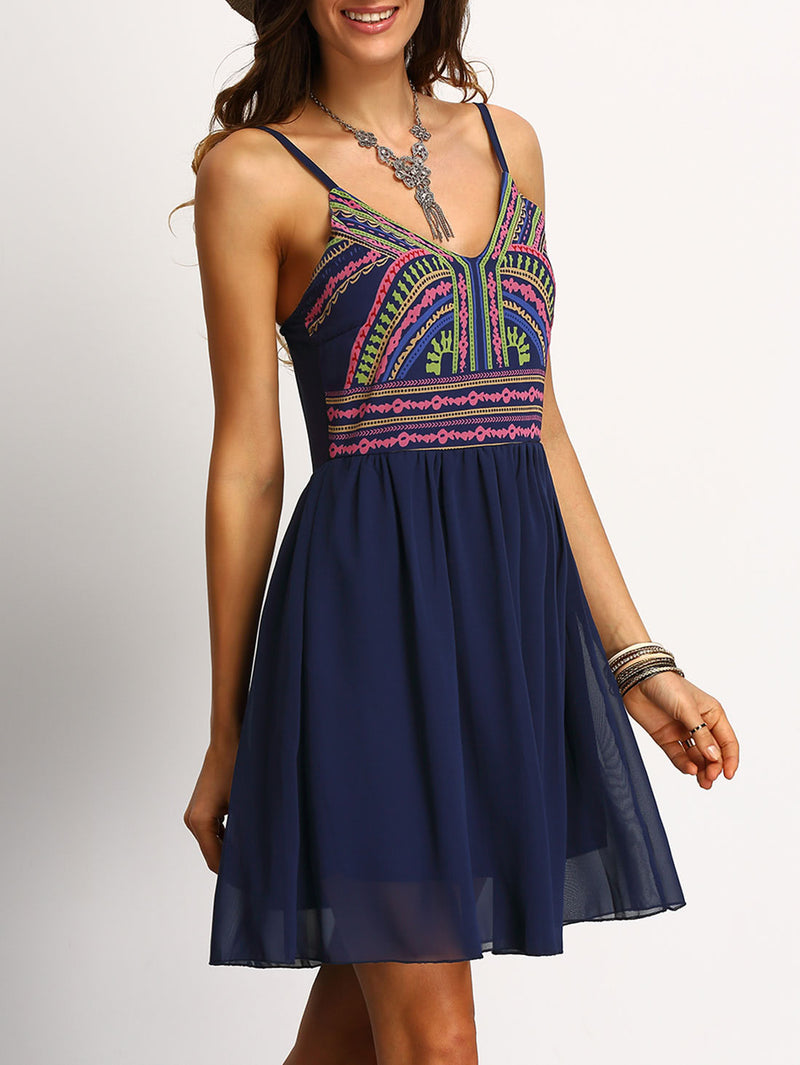 Cami Straps Tribal Print Chiffon Dress