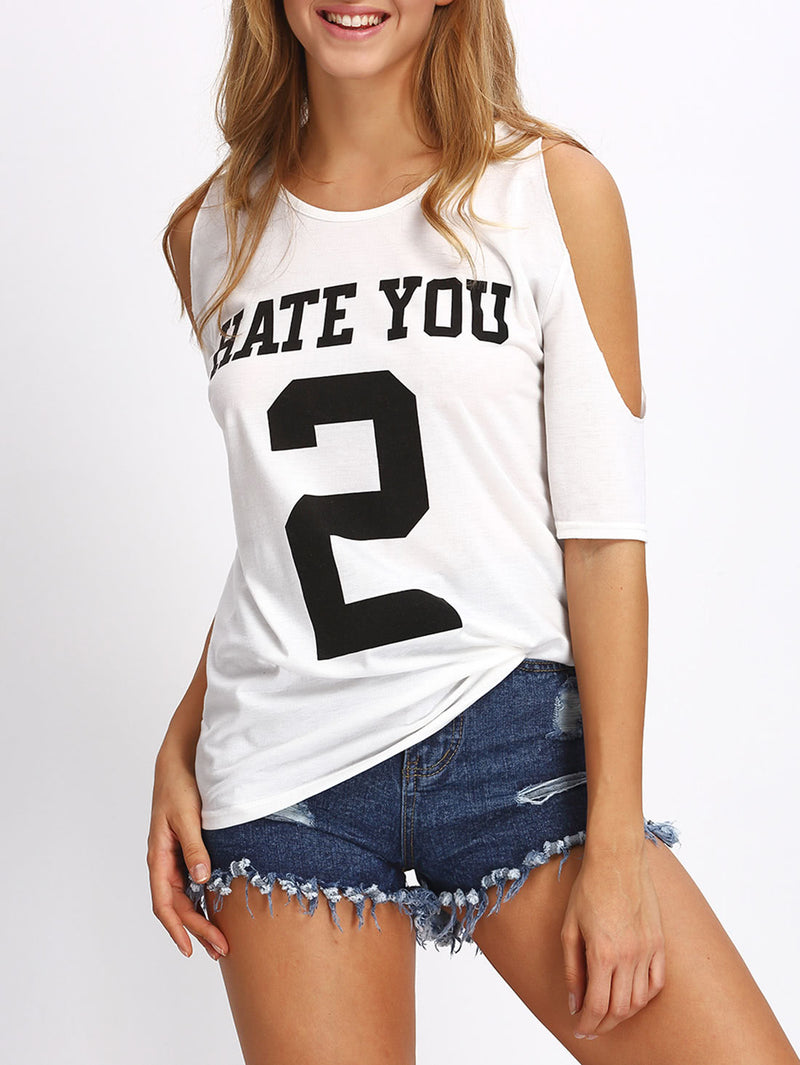 Open Shoulder Varsity Print T-shirt