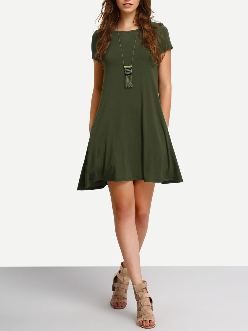 Short Sleeve Casual Shift Dress