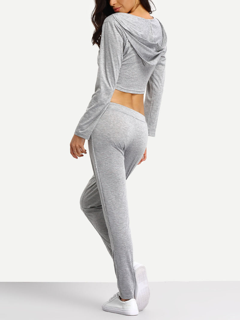 Crop Hooded And Jogger Lounge Set