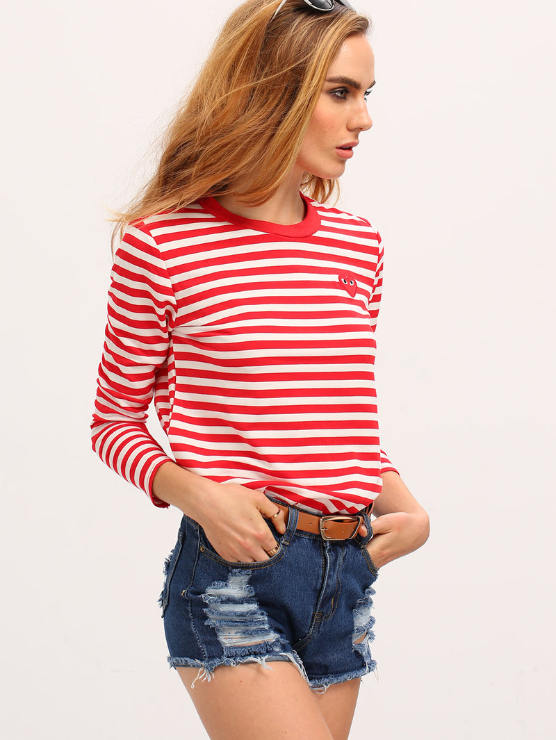 Red White Long Sleeve Striped T-Shirt