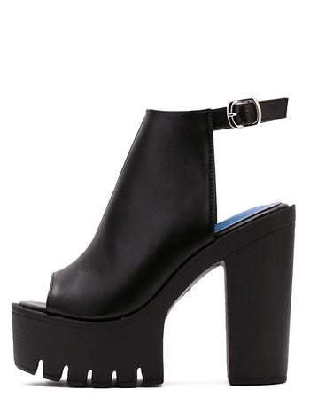 Black Lug Sole Chunky Mule Pumps