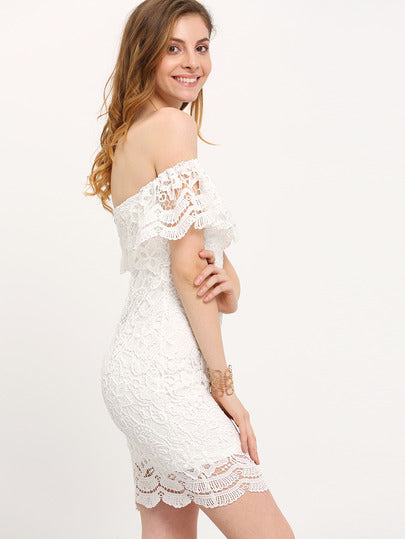 Straight Across Lace Ruffle Bodycon Dress