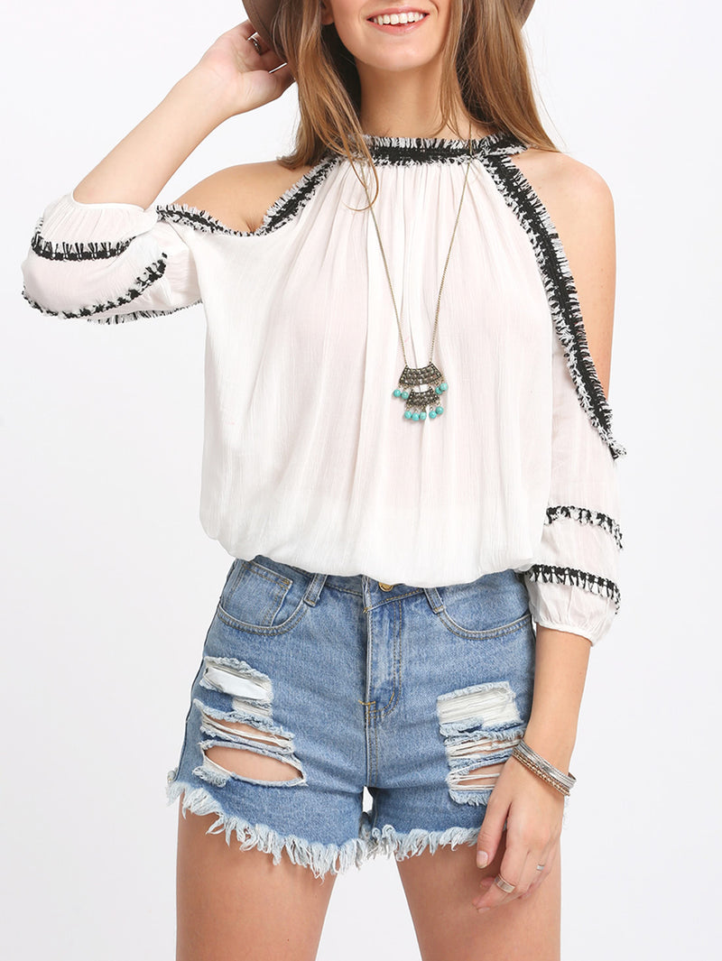 Crochet Trim Cold Shoulder Blouse