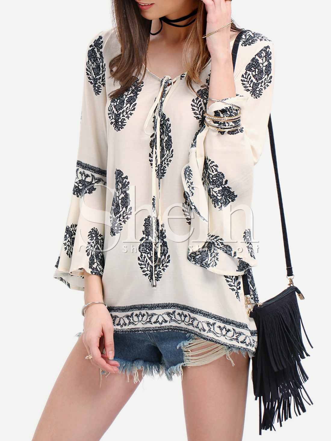 Bell Sleeve Lace Up Blouse
