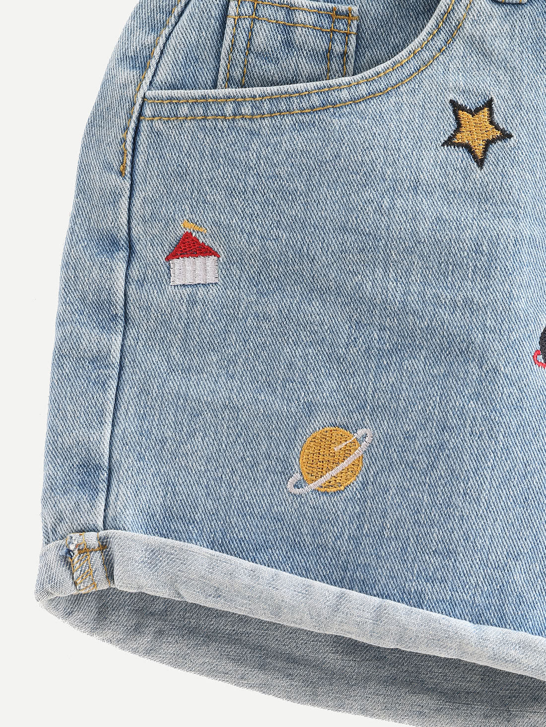 Embroidered Cuffed Denim Shorts