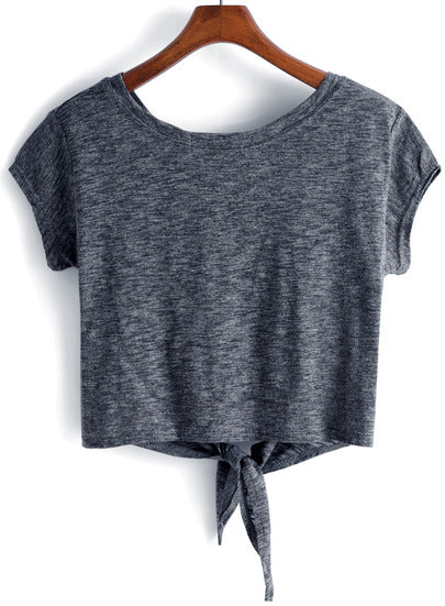 Cap Sleeve Knotted Front Crop T-Shirt