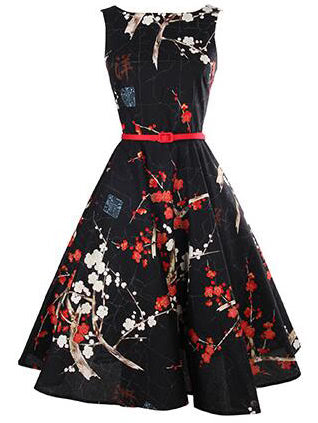 Floral Print Flare Dress With Belt