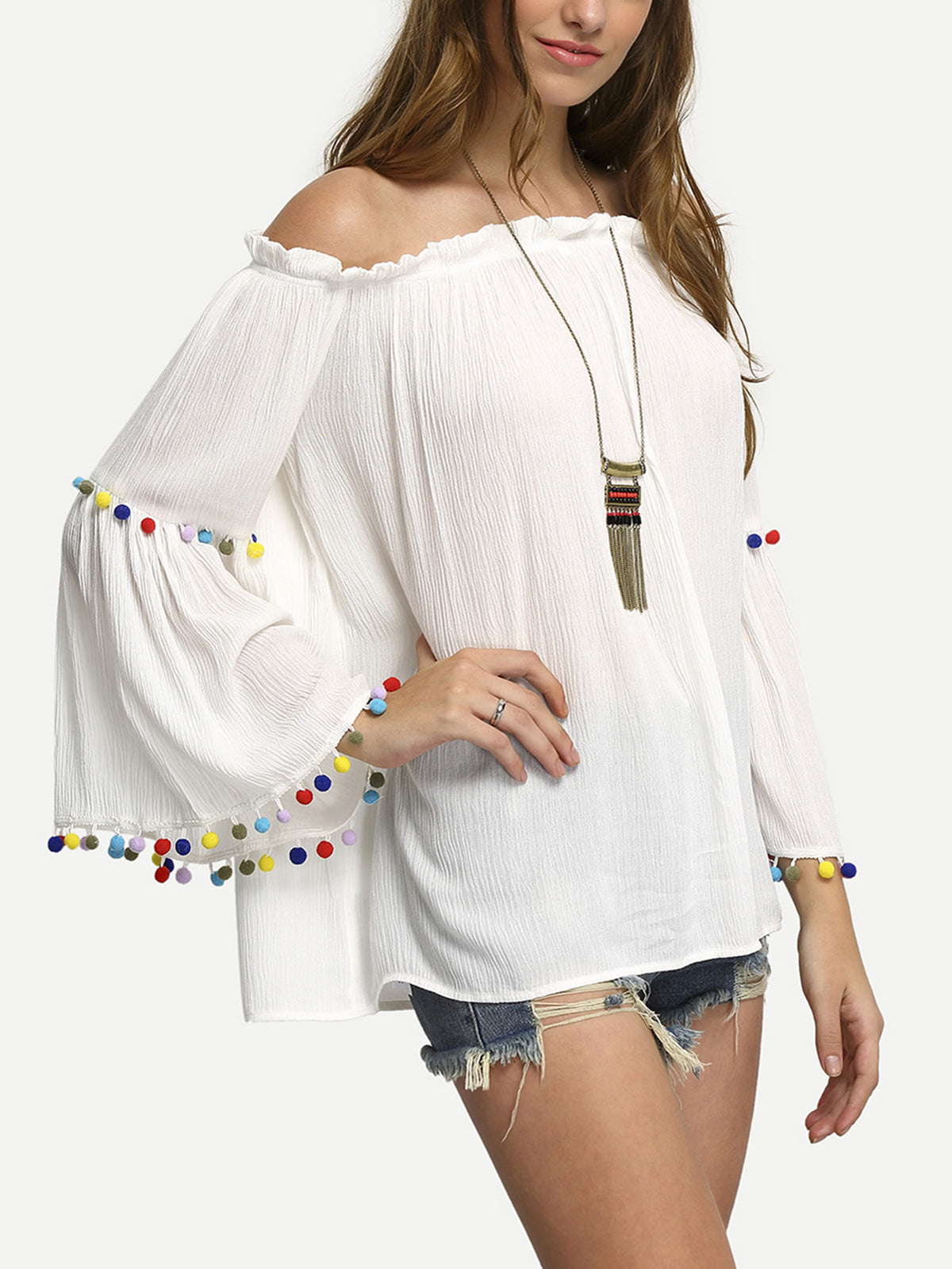 Off The Shoulder Colored Pompom Trim Blouse
