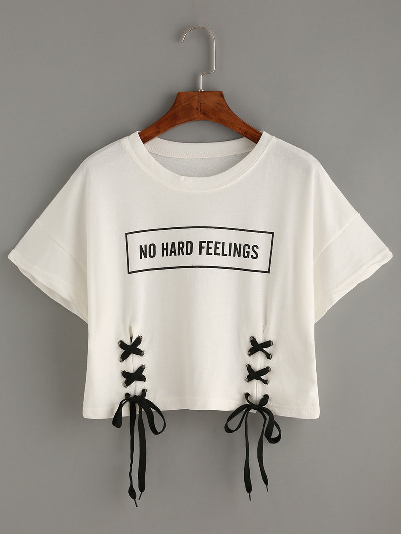 Letter Print Lace-up Crop T-shirt