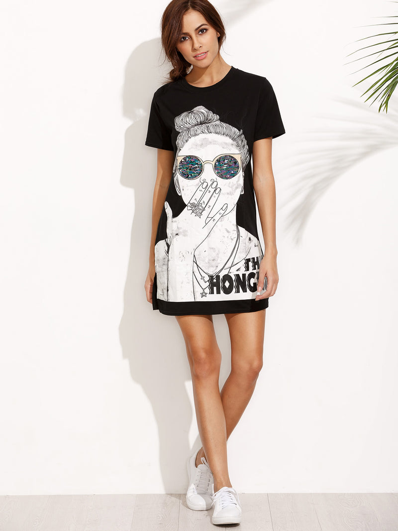 Girl Print Split Side Tshirt Dress