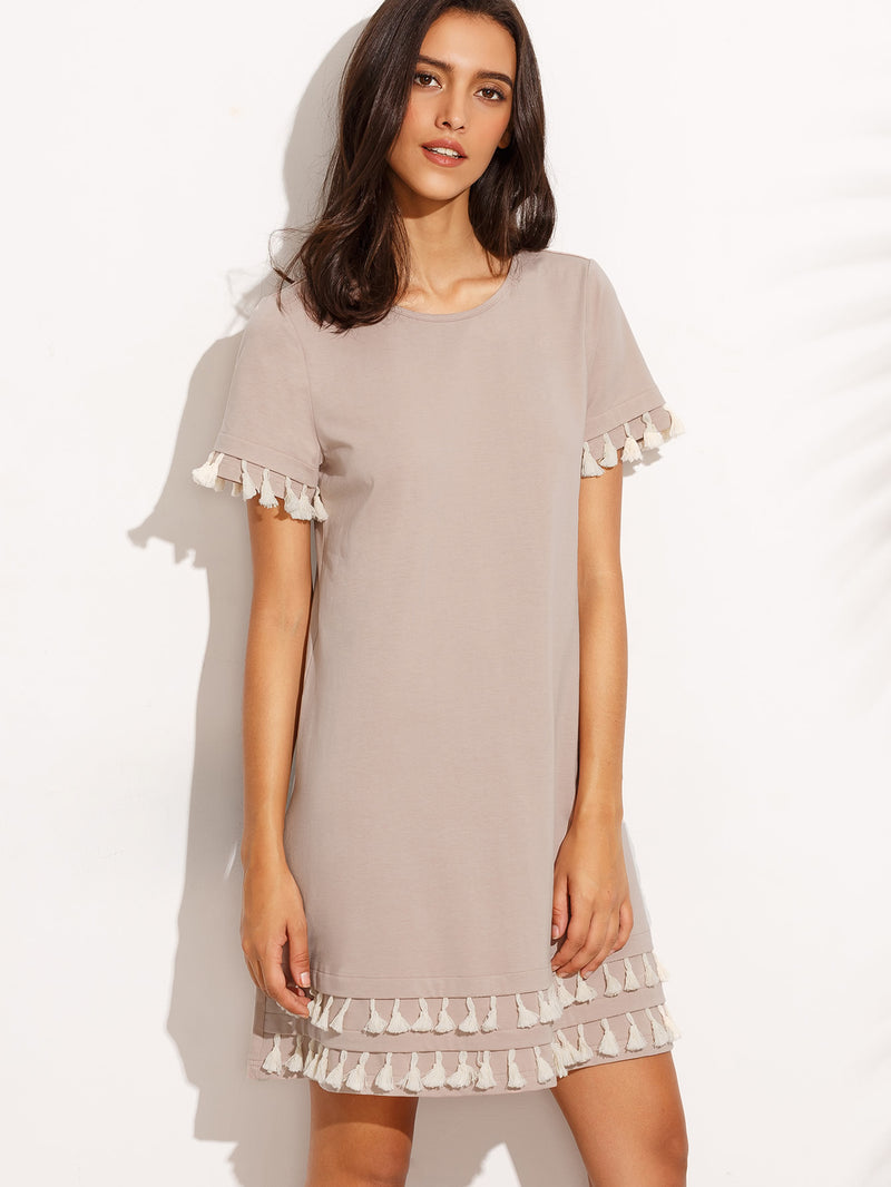 Tassel Hem Loose Dress