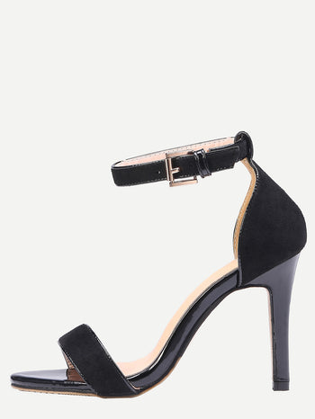 Black Ankle Strap Stiletto Sandals