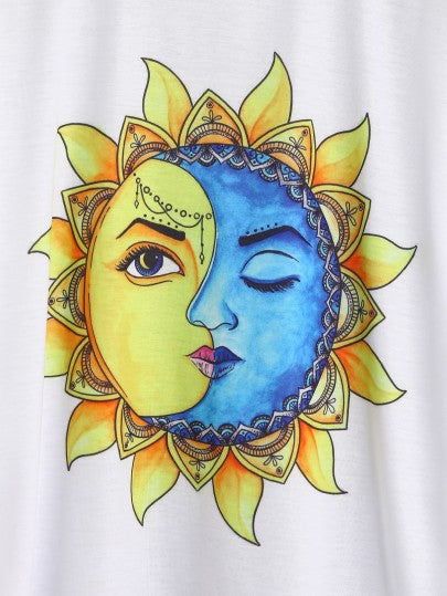 Sun And Moon Graphic Print T-shirt