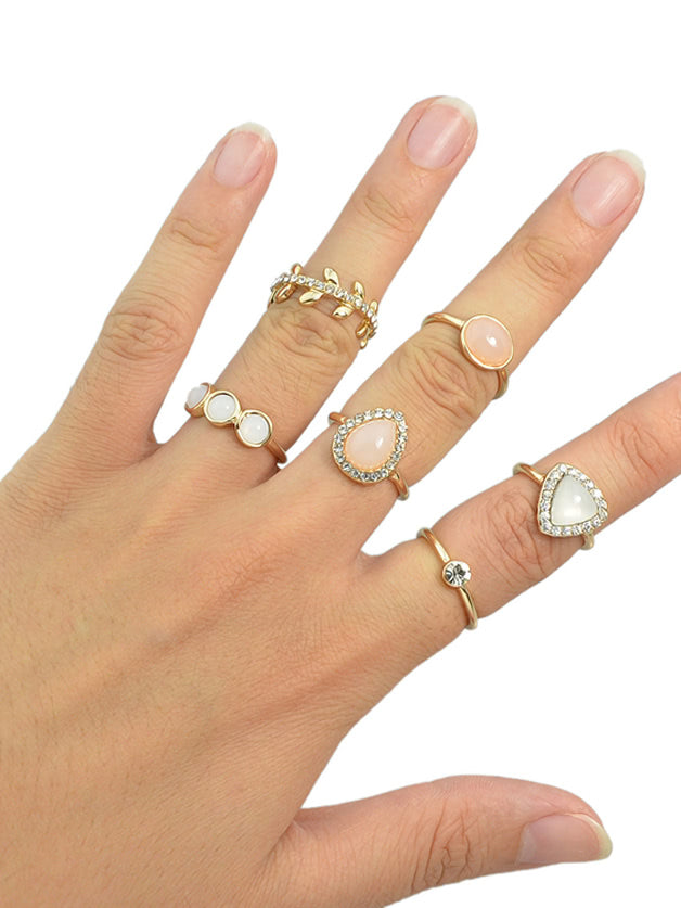(6 Pcs)Rhinestone Metal Midi Fingers Rings