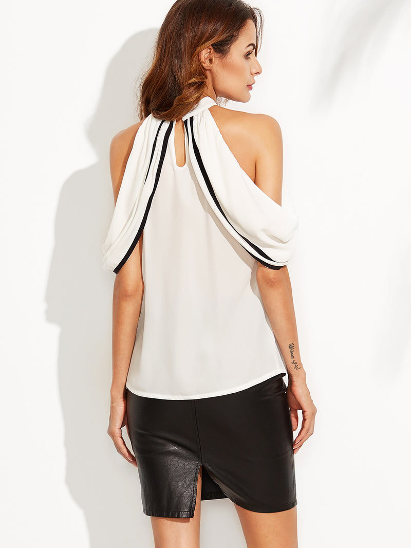 Contrast Binding Cold Shoulder Cape Blouse