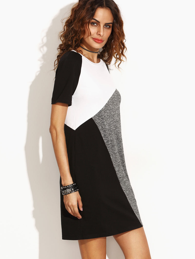 Color Block Raglan Sleeve Tee Dress