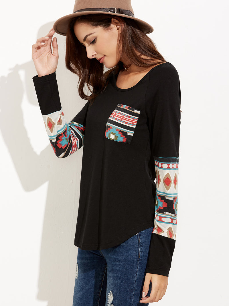 Curved Hem Pocket T-shirt With Tribal Print Detail