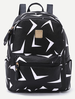 Triangle Print Zip Pocket Backpack