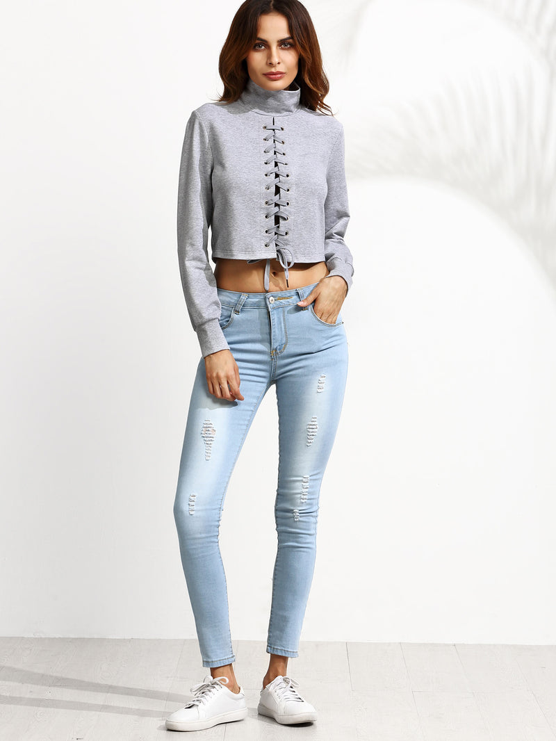 Heather Grey High Neck Lace Up Crop Sweatshirt