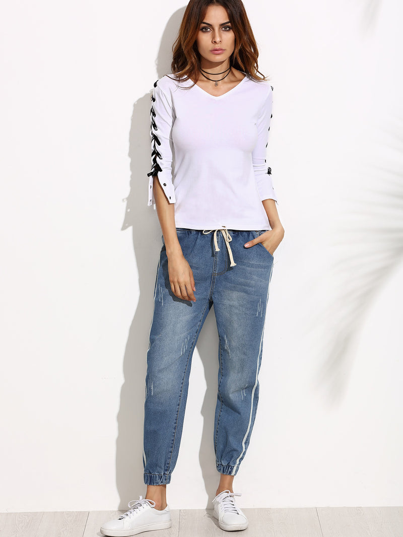 Side Stripe Elastic Cuff Jeans