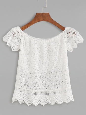 Boat Neck Crochet Lace Scalloped Hollow Out Blouse