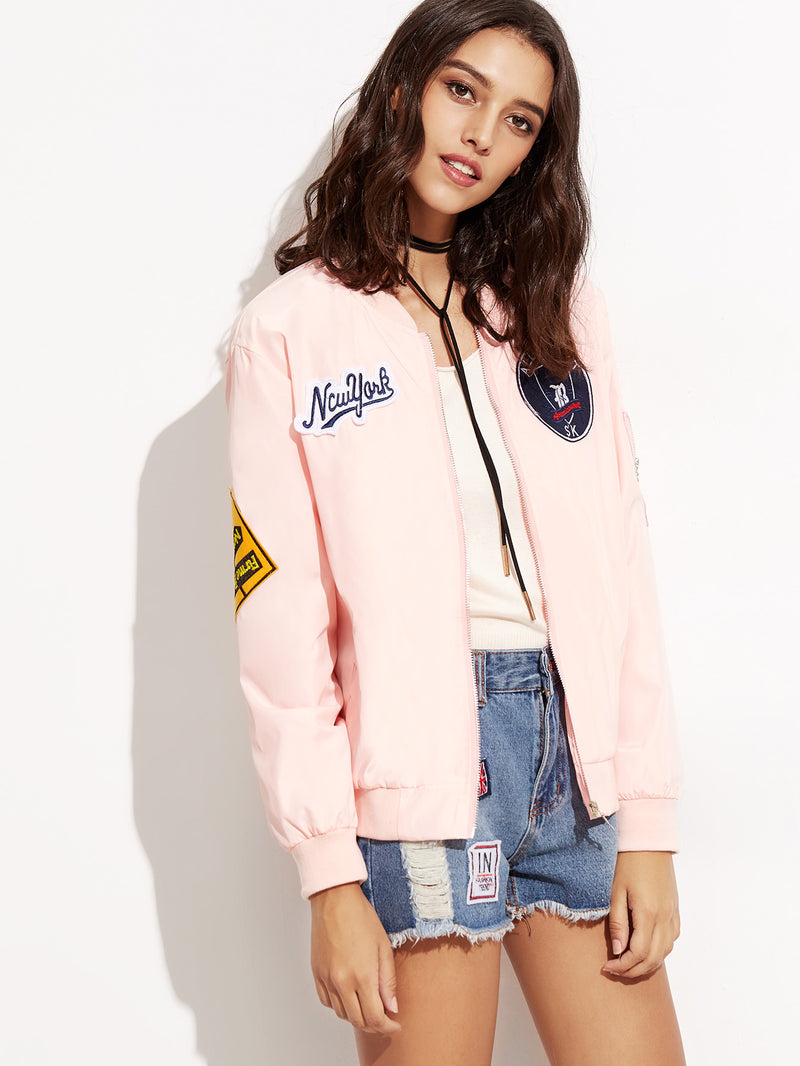 Embroidered Patch Zipper Bomber Jacket