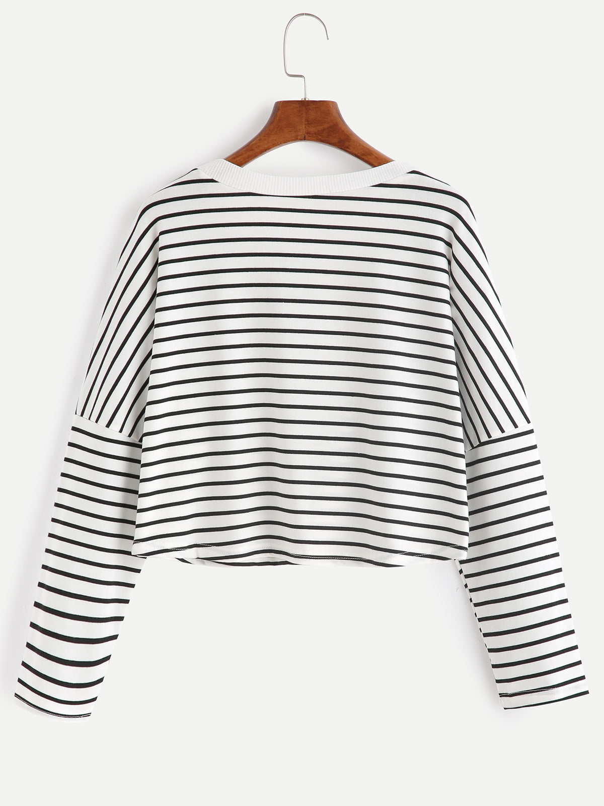 Striped Drop Shoulder Crop T-shirt