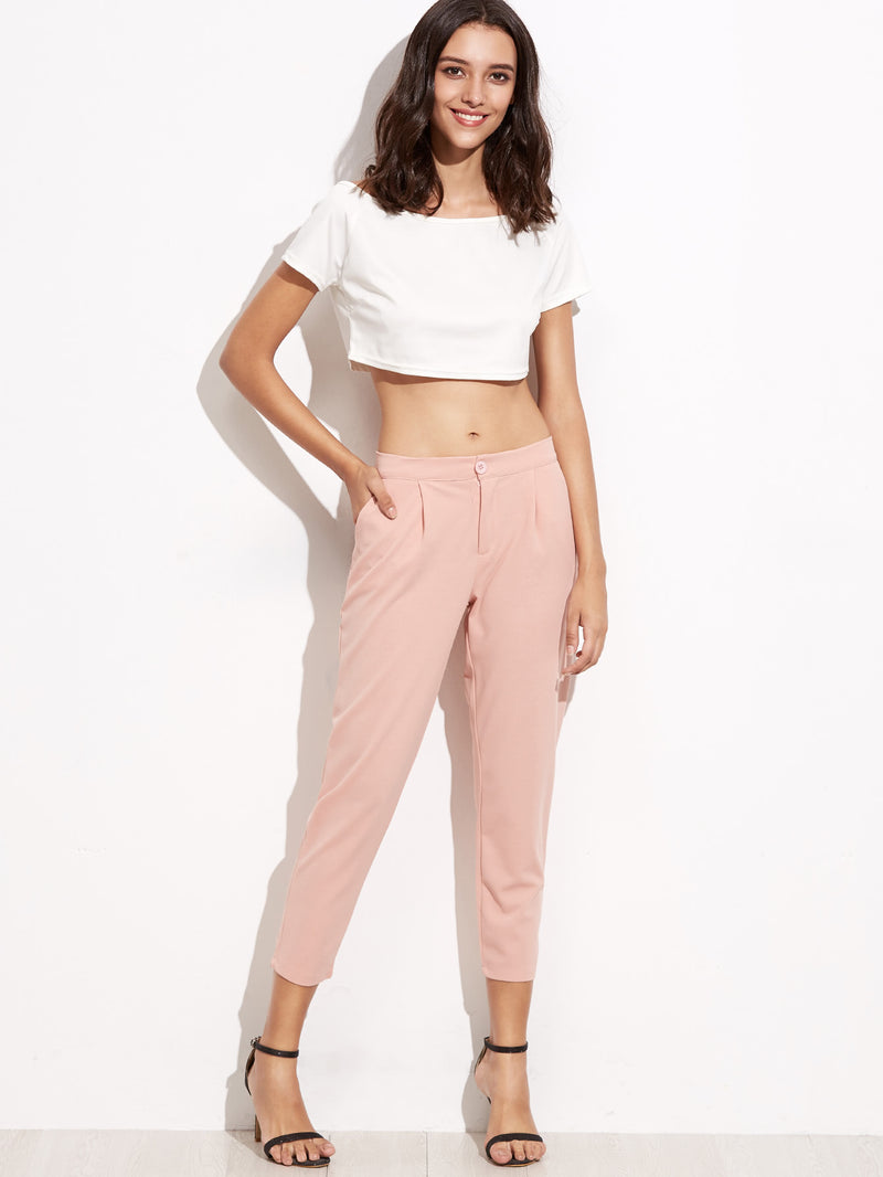Elastic Waist Slim Leg Crop Pants