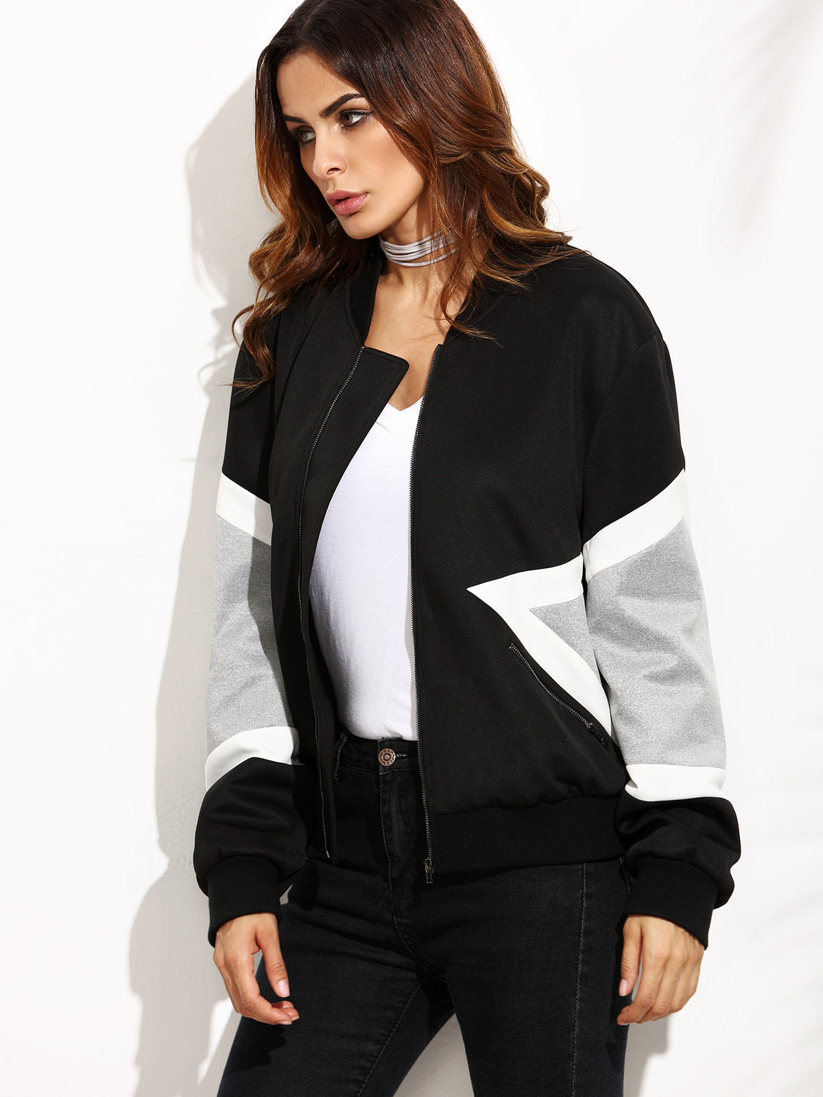 Contrast Panel Zip Up Bomber Jacket
