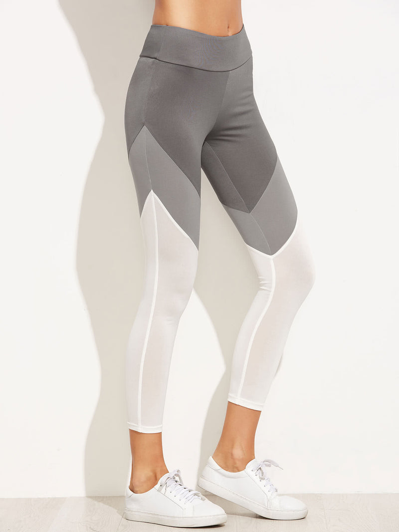Color Block Wide Waistband Leggings