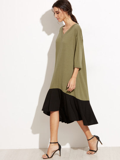 Color Block V Neck High Low Shift Dress