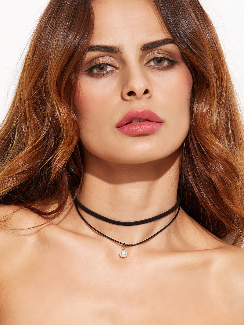 Layered Faux Pearl Choker Necklace