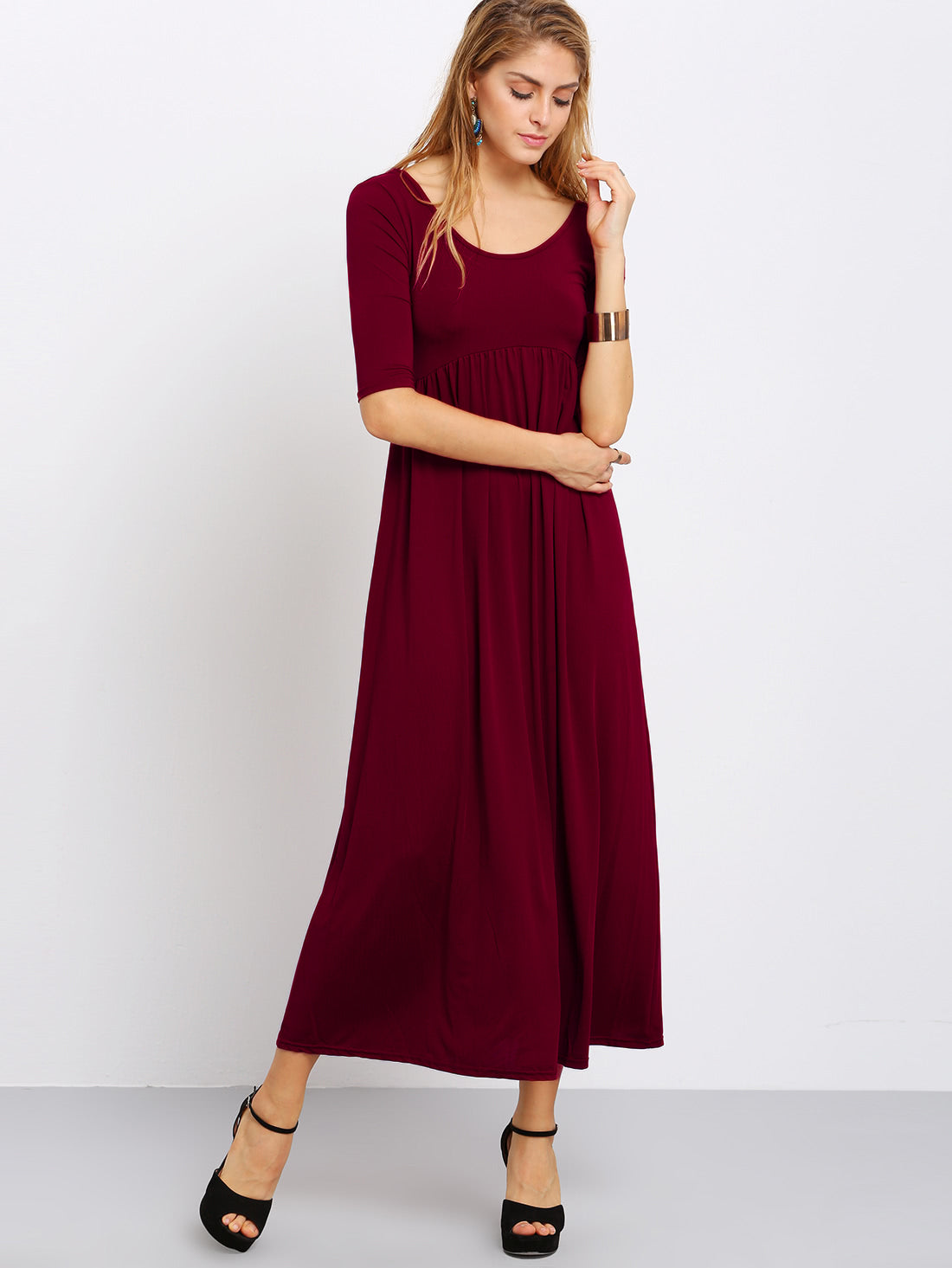 Scoop Neck Cut Out Back Maxi Dress
