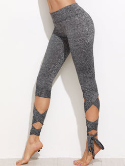 Marled Knit Cropped Tie Leggings