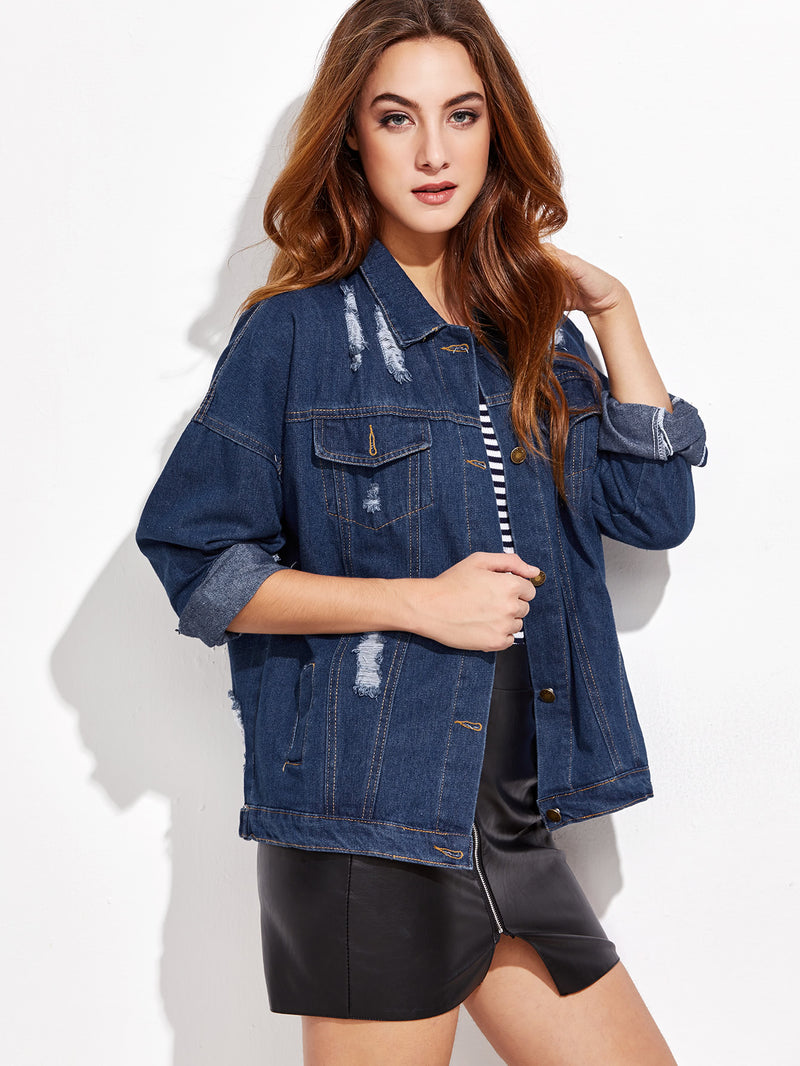 Ripped Dropped Shoulder Denim Jacket