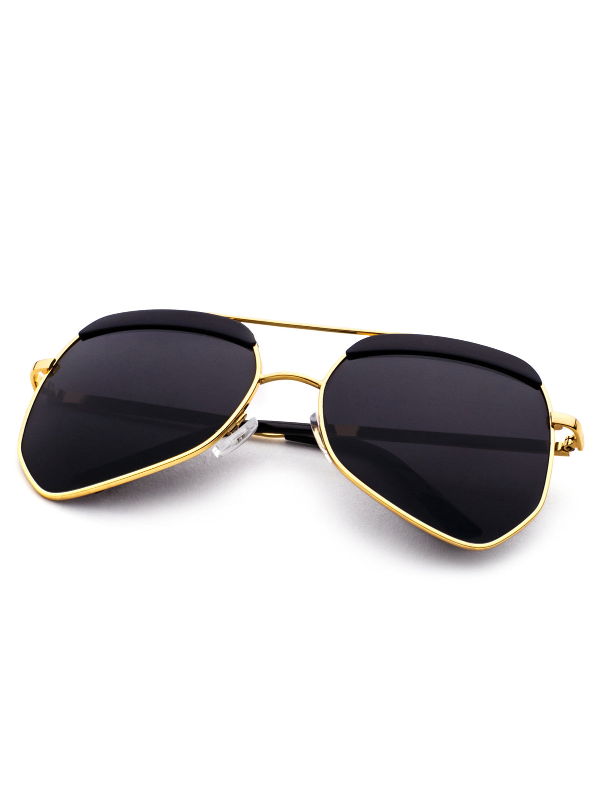 Gold Frame Double Bridge Black Lens Sunglasses