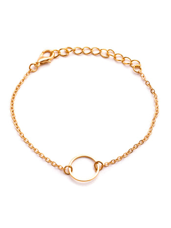 Gold Plated Hollow Circle Chain Bracelet