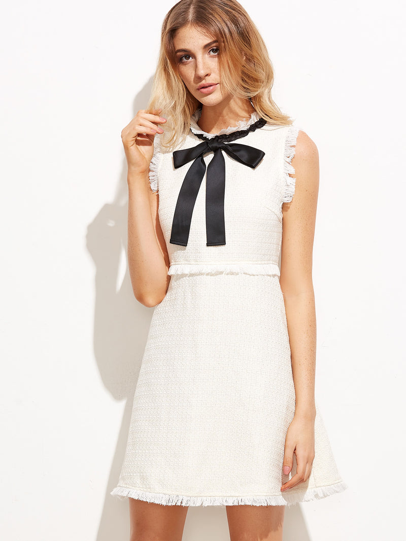 Bow Tie Neck Frayed Trim Tweed Dress