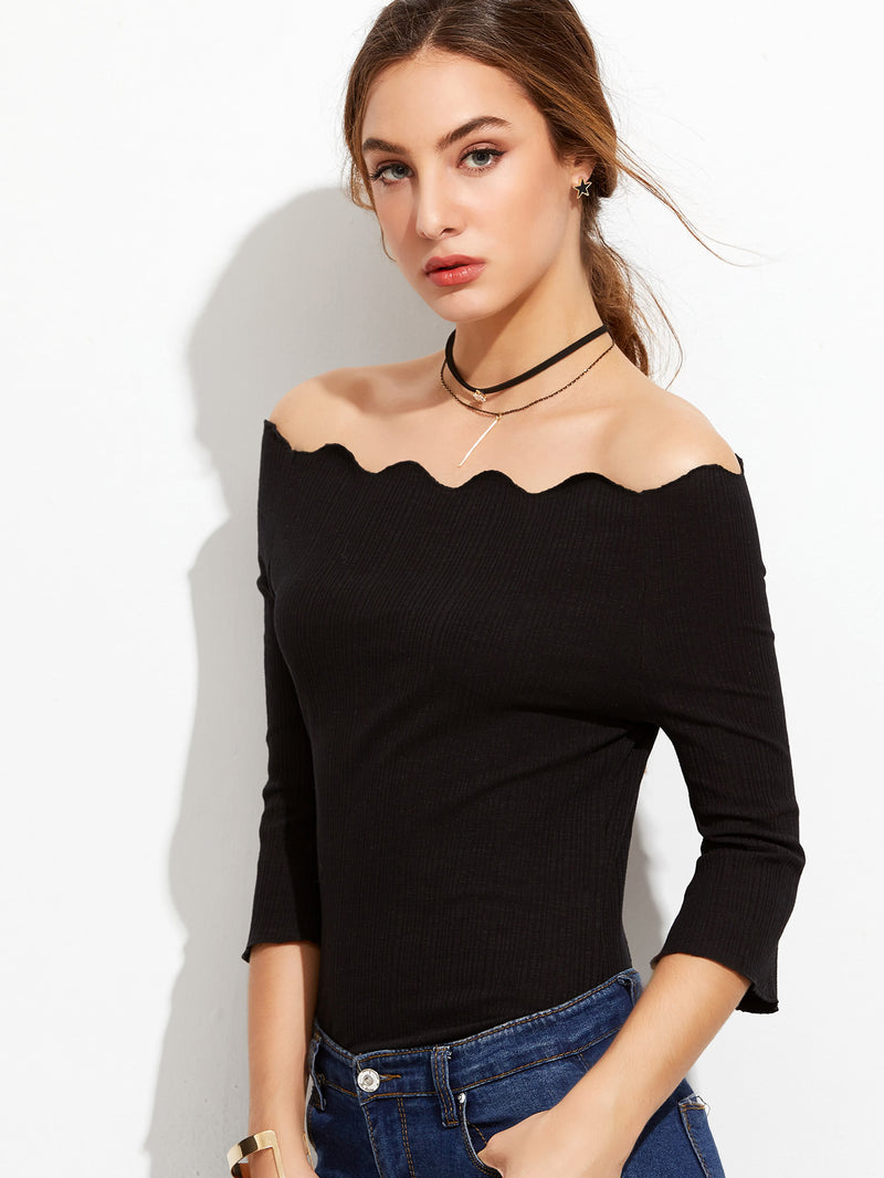 Scallop Off Shoulder T-shirt