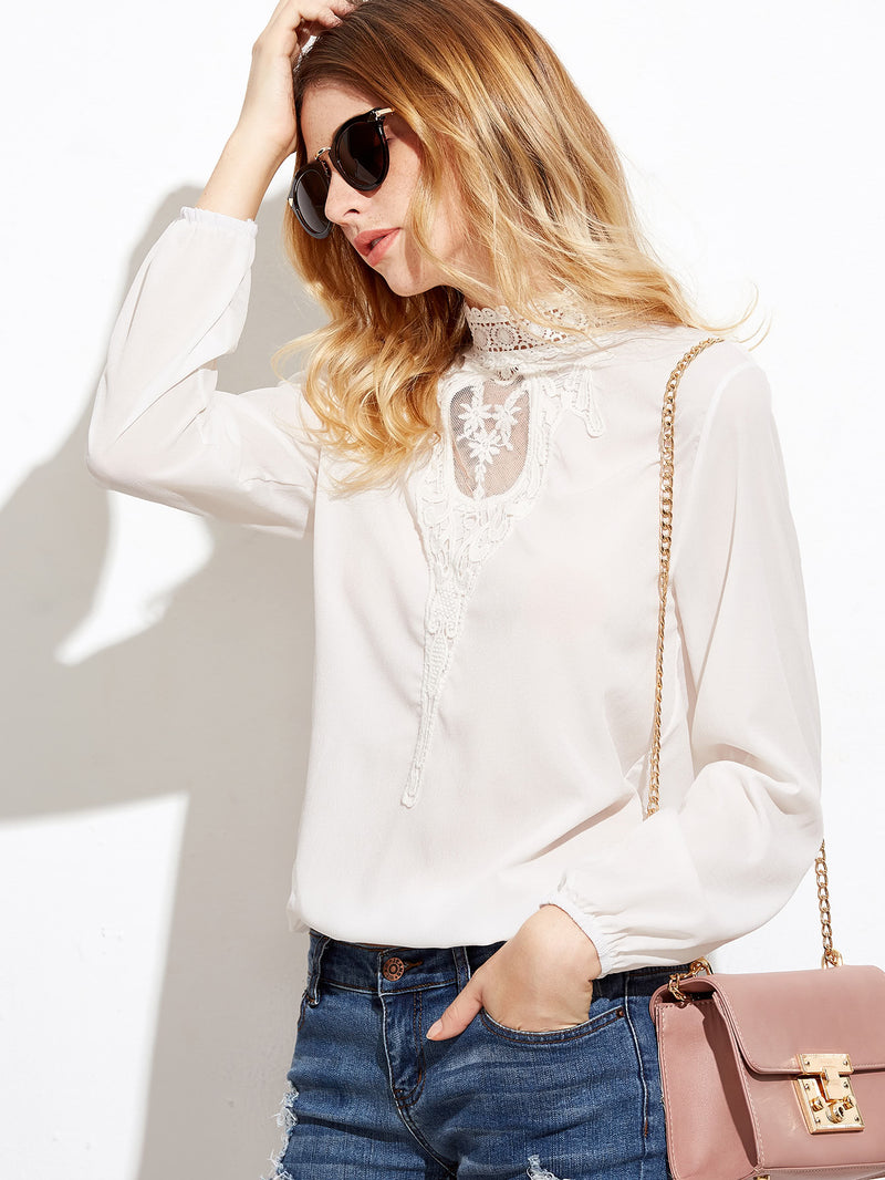 Crochet Lace Panel Blouse